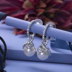 Post earring Pearl Hoop
